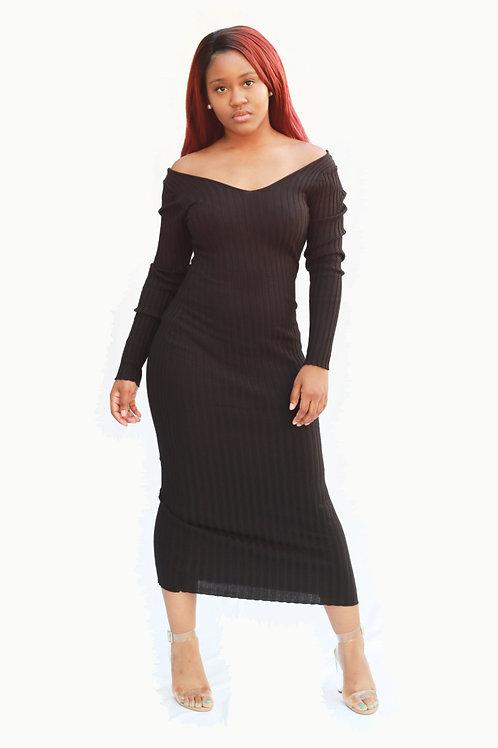 V Neck Body Con Maxi Dress - Ribbed Knit