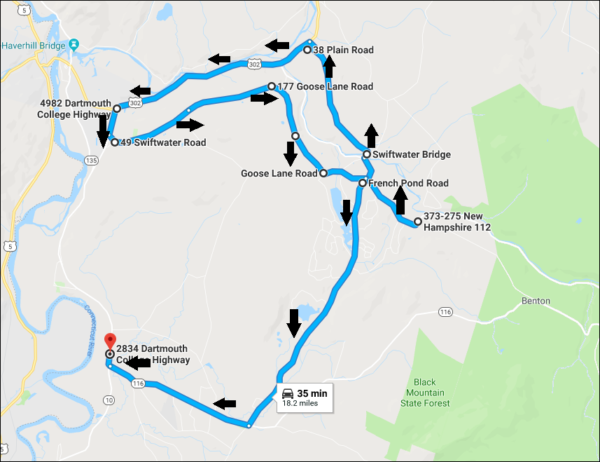 Trooper Monaghan's search route for Maura Murray
