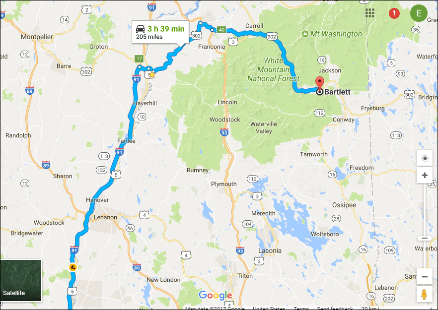 Directions to Bartlett, NH from UMass