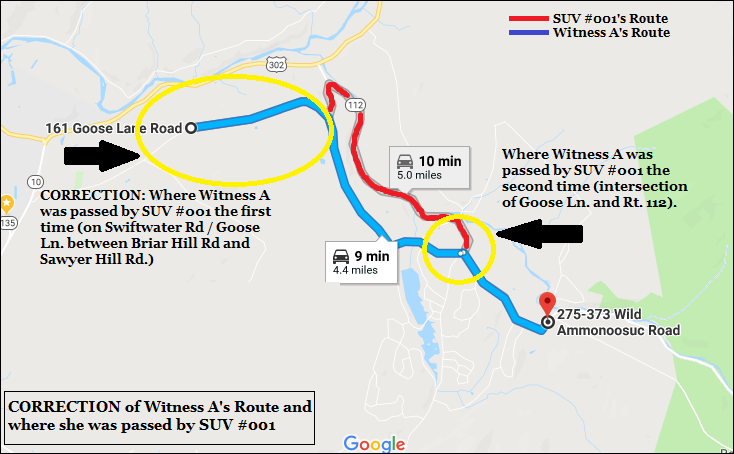 Witness A's Route and where she saw SUV #001 - CORRECTION