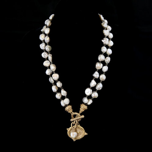 Double Pearl Necklace with Bee Medallion