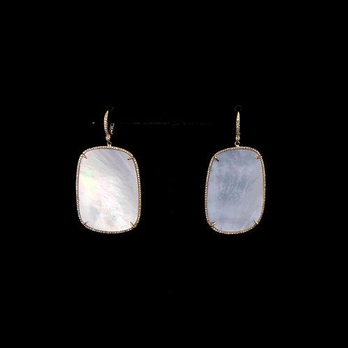 Large Pearl Rectangle Earrings