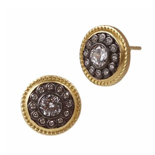 Gold & Black Nautical Button Studs