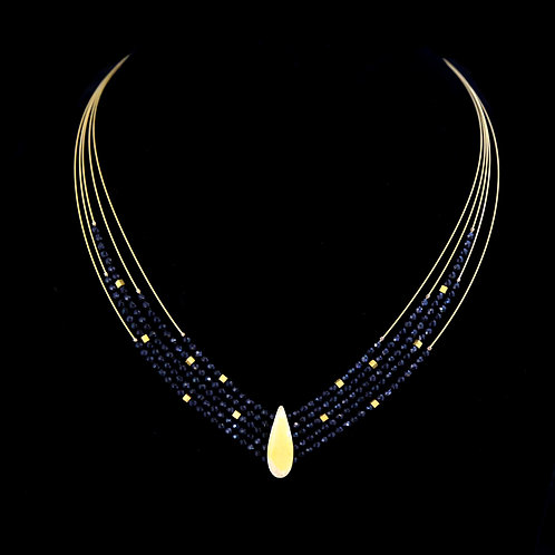 Black Spinel Necklace with Teardrop Center