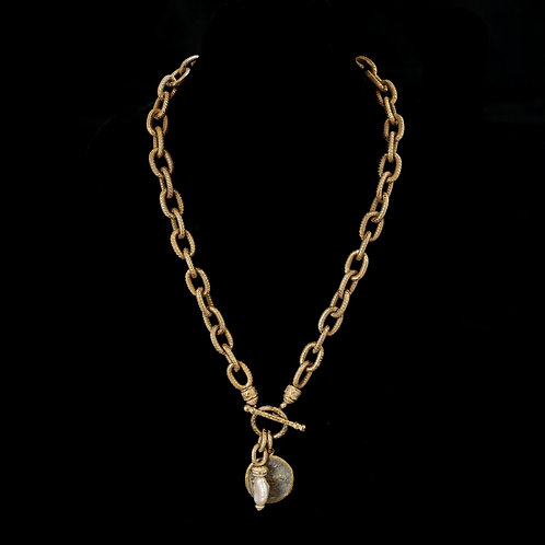 Italian Chain with Dark Coin and Pearl
