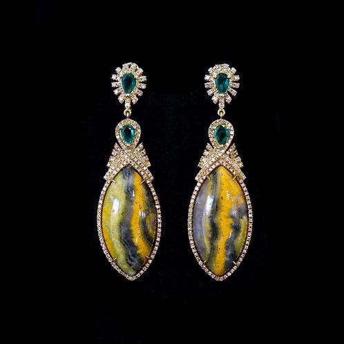 Agate and Emerald Leaf Earrings