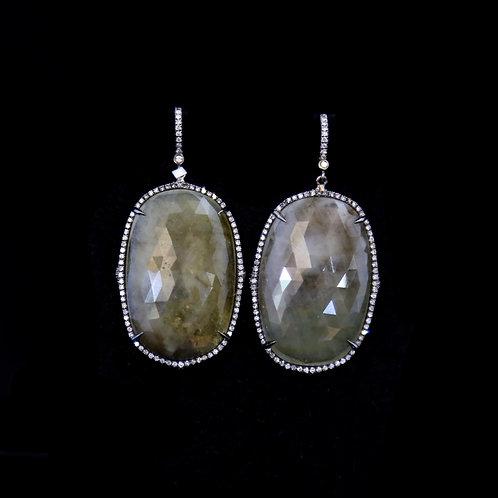 Oval Sliced Sapphire Earrings