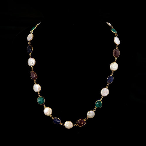Pearl and Multicolored Stone Necklace