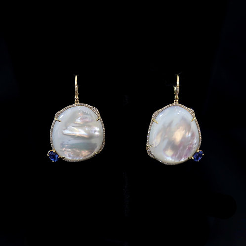 Pearl Earrings with Sapphire Accents