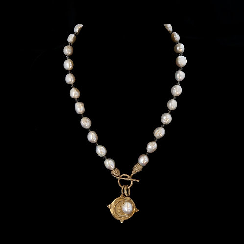 Single Pearl Necklace with Crown Medallion
