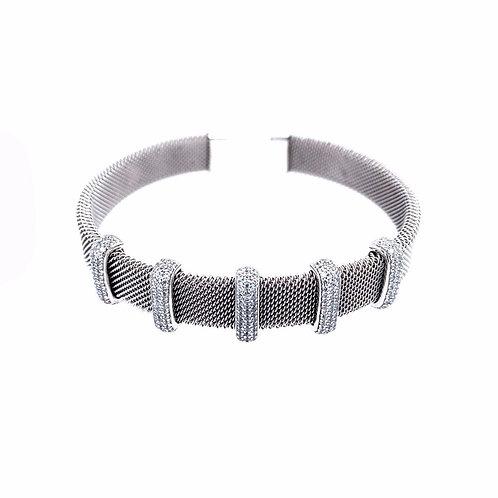 Silver Cuff with 5 CZ Bars