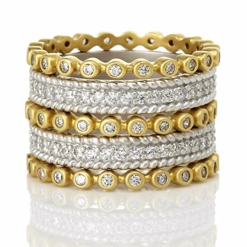 Signature Two Tone Pave 5-Stack Ring