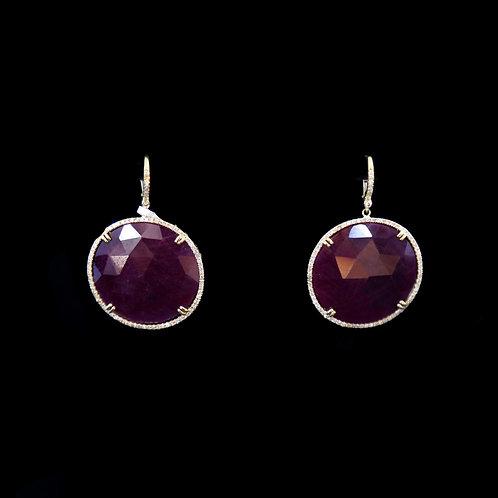 Round Sliced Ruby Earrings