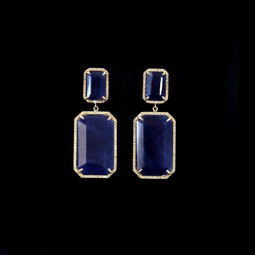 Double Rectangular Sapphire Earrings