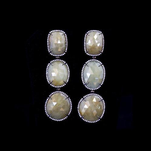 Triple Sliced Sapphire Earrings