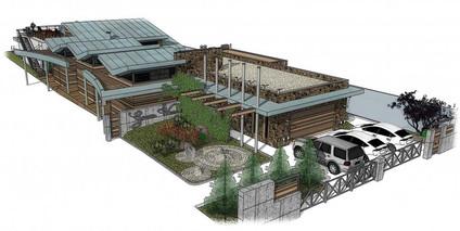 Проект частного одноэтажного дома с фальцевой кровлей Green Waves