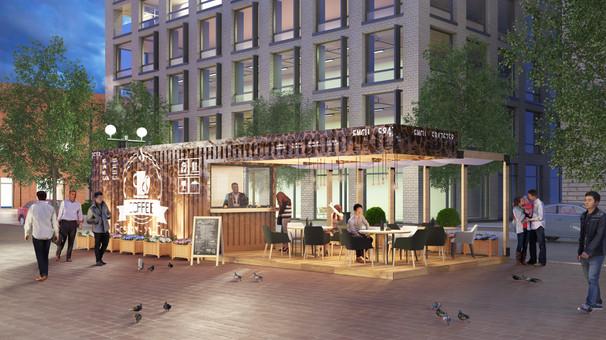 Сетевое проектное предложение уличных кафе Ship containers