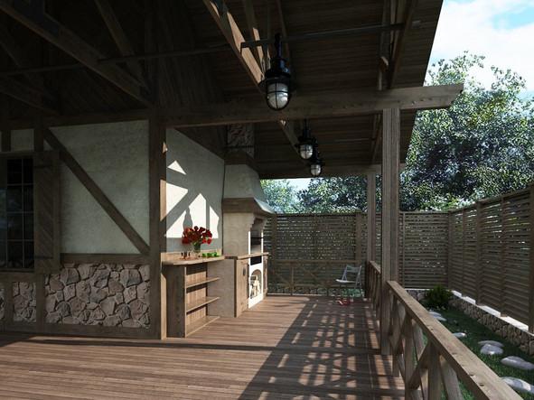 Проект деревянной беседки в жилом комплексе