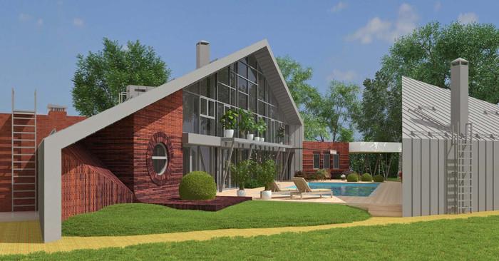 Проект современного частного дома из металлокаркаса в п.Янтарный. АБ Новая РАСА