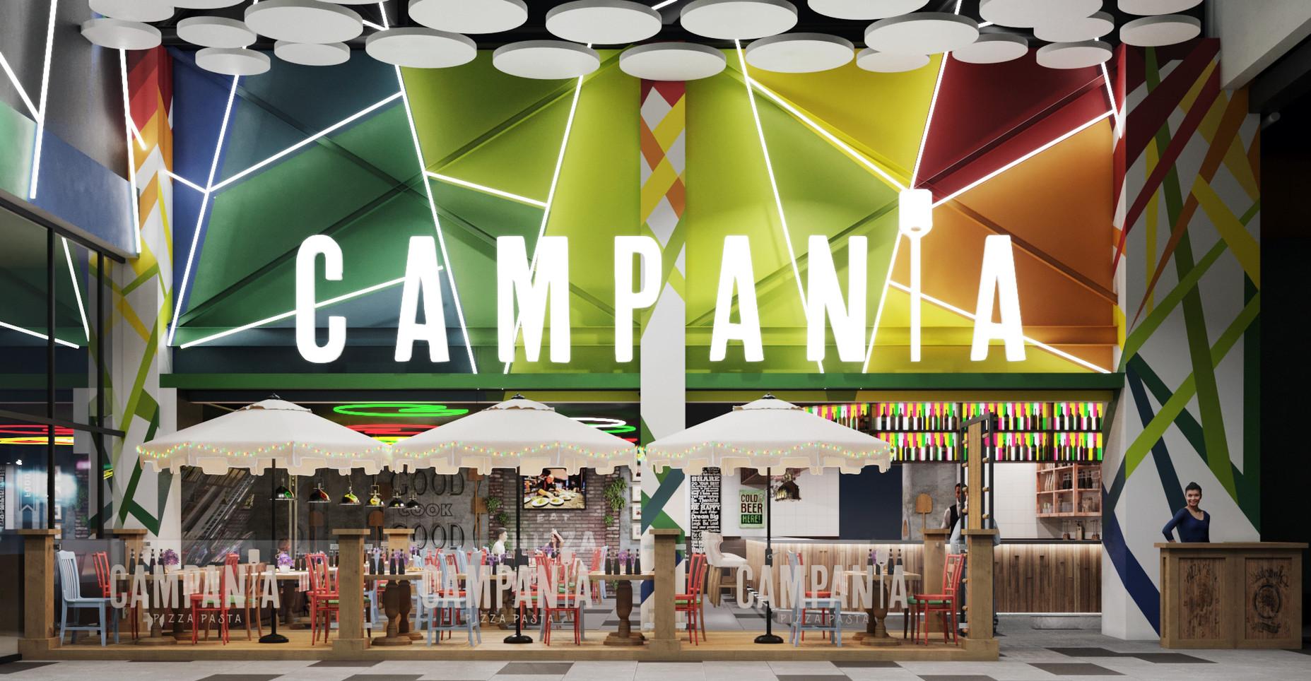 дизайн-проект интерьера пиццерии CAMPANIA