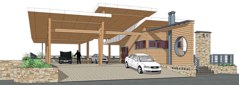 Проект автомобильной парковки с жилым домом
