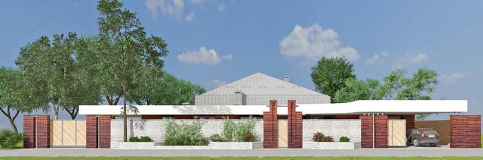 Забор из кирпича и габиона, откатные ворота и козырек из Алюкобонда. АБ Новая РАСА