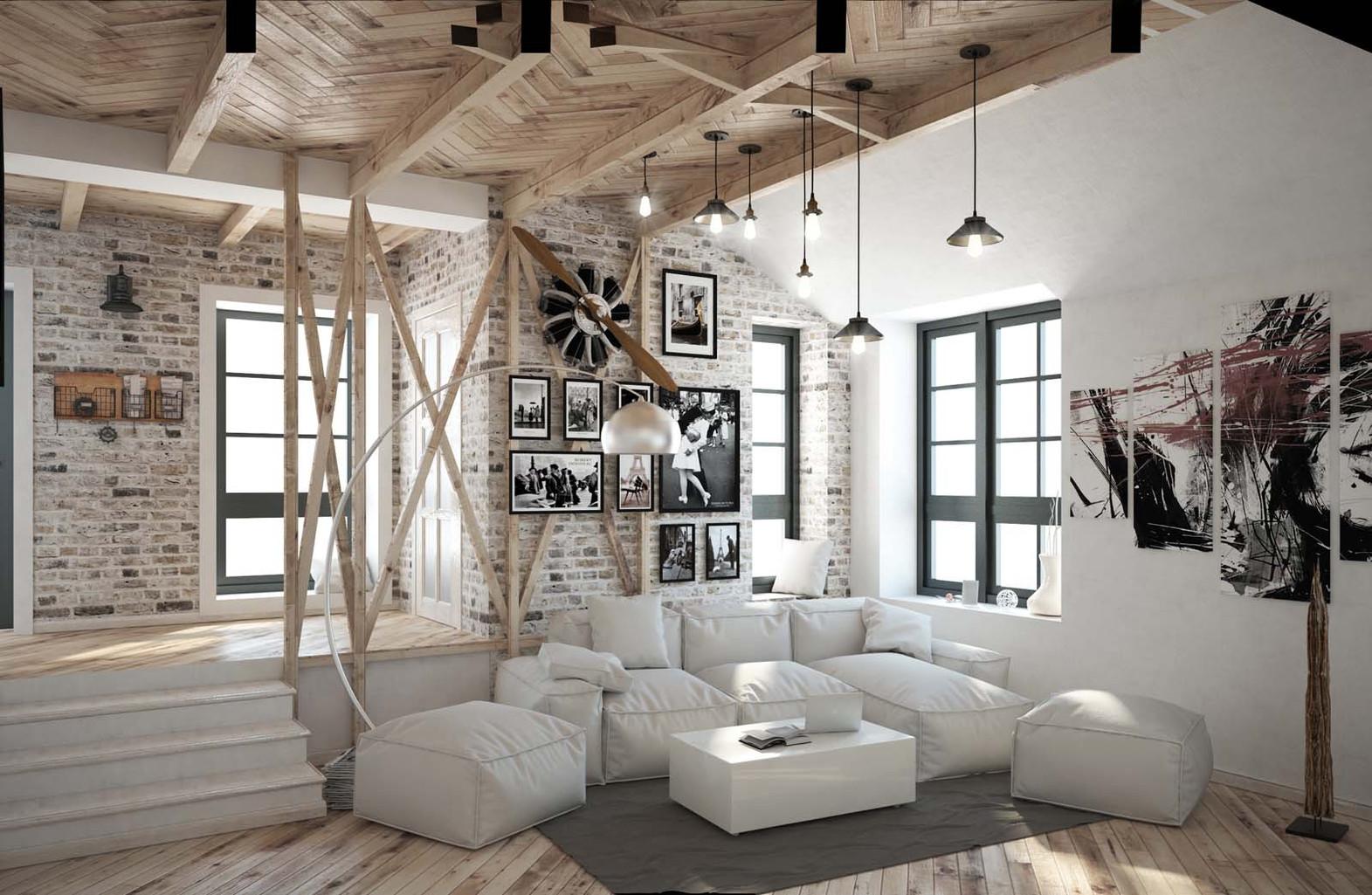 Дизайн-проект квартир в реновации заброшенной фабрики под частный жилой комплекс