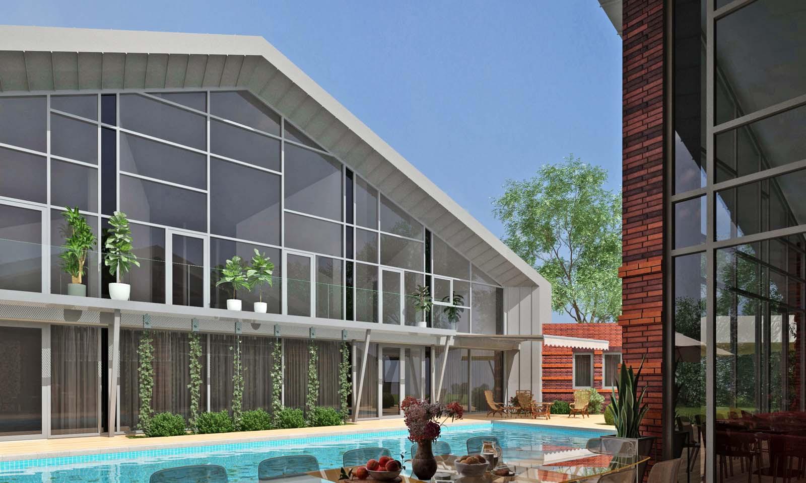 Внутренний двор с террасой из декинга и бассейном. АБ Новая РАСА