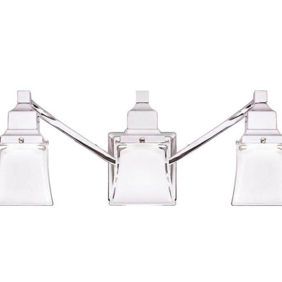 3-Light Chrome Vanity Light With Etched Glass Shades