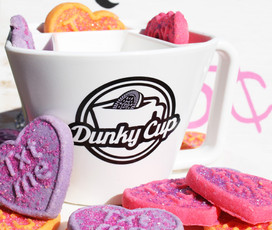 Cute Valentine Heart Cookies in Dunky Cup