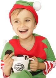 Elf Enjoying Cookies and Milk