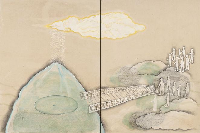 Pilgrimage Over The Bridge diptych 300dp