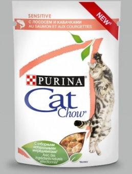 Корм для кошек с чувствительным пищеварением КЭТ ЧАУ  СОУС Лосось+кабачок 85гр