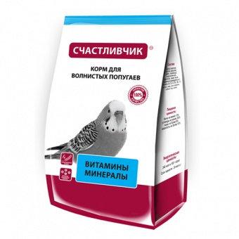 Счастливчик для волнистых попугаев Рациональное питание Витамин+минерал