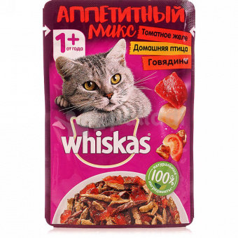 Корм для кошек Вискас аппетитный миск томатное желе с Говядиной и птицей 85гр