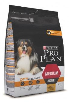 Корм для собак ПРО ПЛАН для взрослых собак средних пород Курица 6*1,5кг сухой