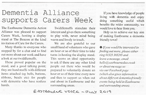 Eastbourne Voice Carers Week - July 2019