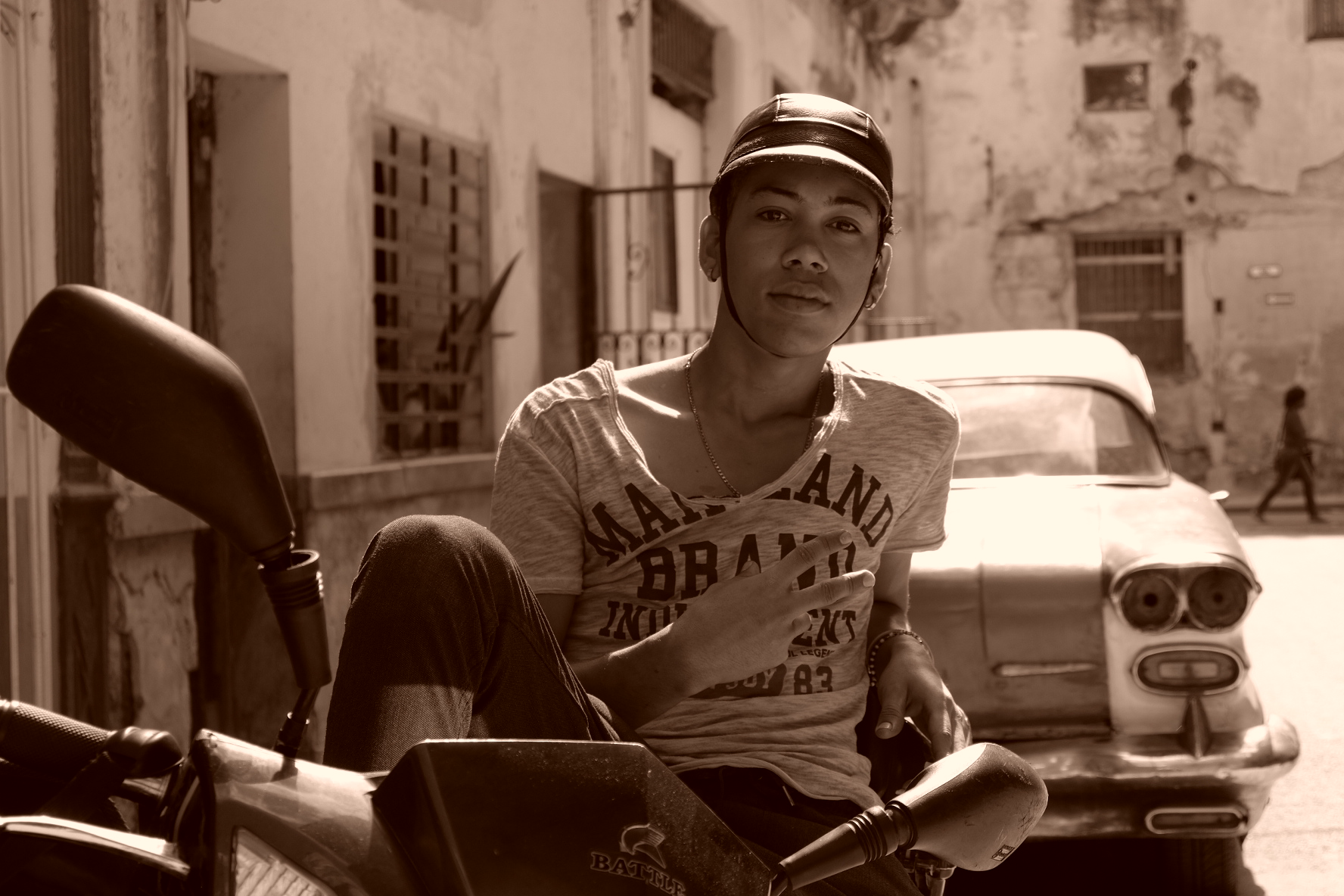 Guy on motorcycle in Old Havana