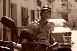 Guy on motorcycle in Old Havana