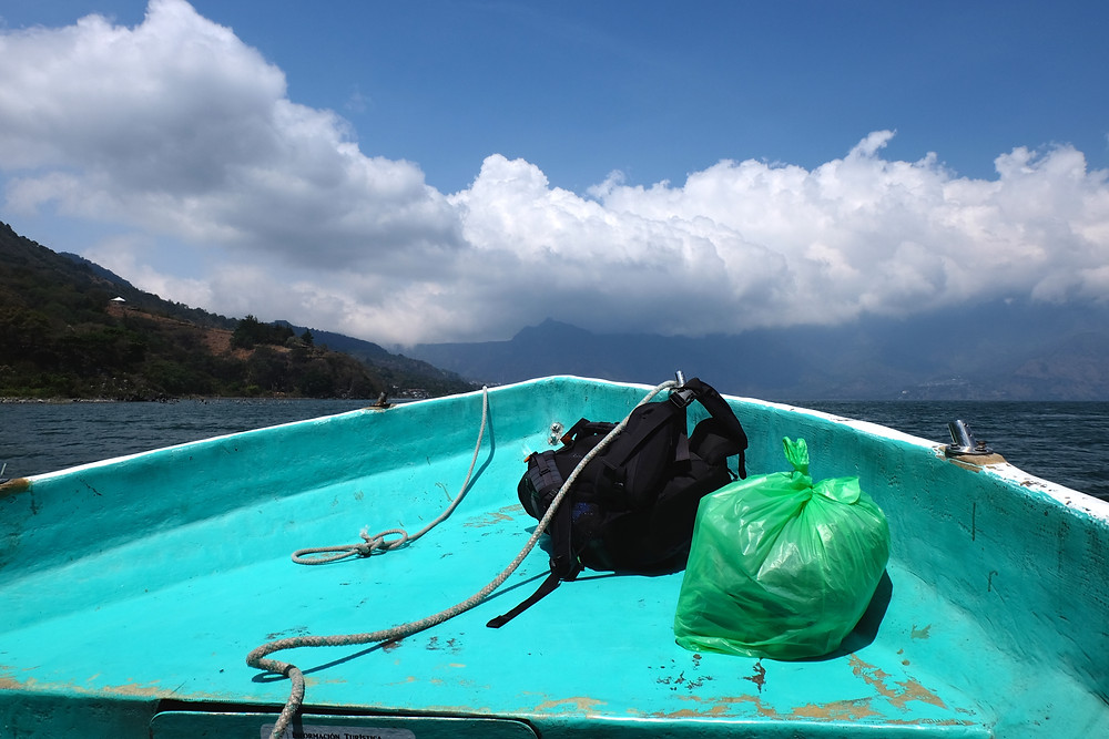 The front of a boat that I took across Lake Atitlan in Guatemala.