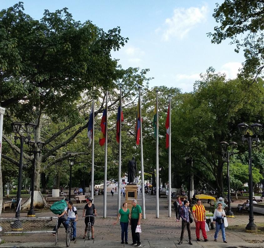 Plaza Simon Bolivar in the heart of Cali, Colombia.