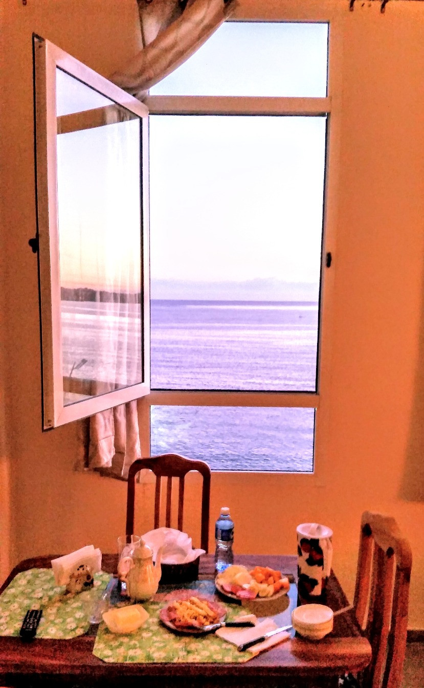 The view from my AirBnB in Havana overlooking the Malecon. Breakfast was included!