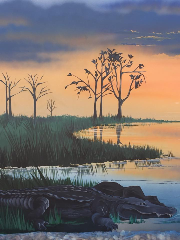 Florida sunset mural with alligator