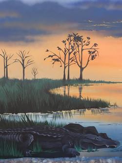Florida sunset mural with alligator