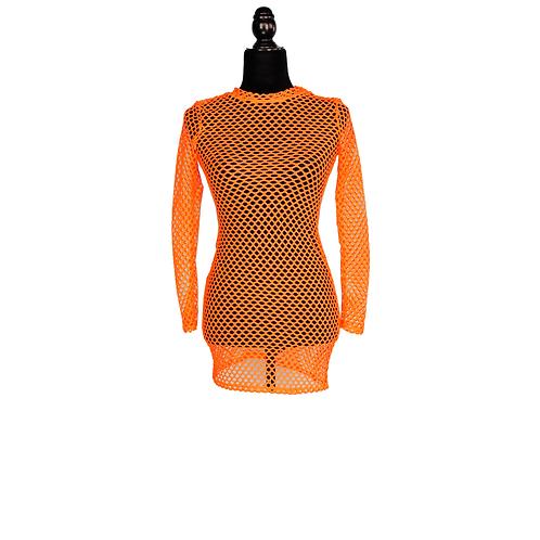Sexy Orange Net Dress