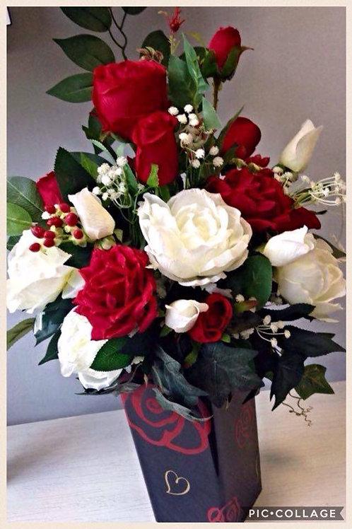 Red & White Floral Vase