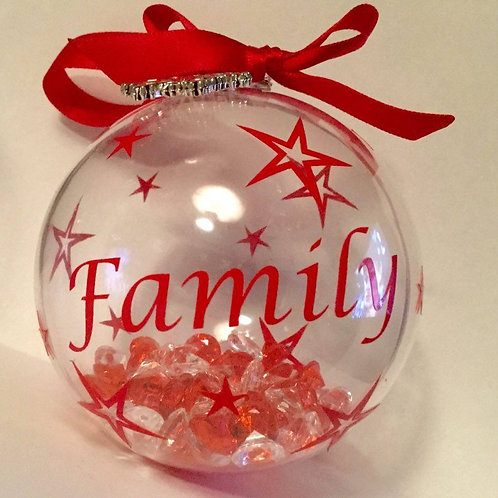 'Family' Red Tree Bauble
