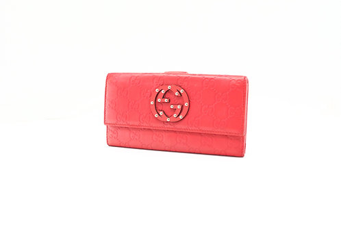 Gucci Long Wallet in Red Guccissima Leather