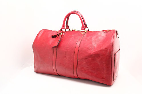 Louis Vuitton Keepall 50 in Red Epi Leather