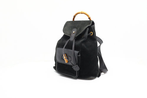 Gucci Bamboo Backpack in Black Suede